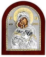 Владимирская икона Божией Матери серебряная с позолотой на деревянной основе Silver Axion(Греция) 110 х 130 мм