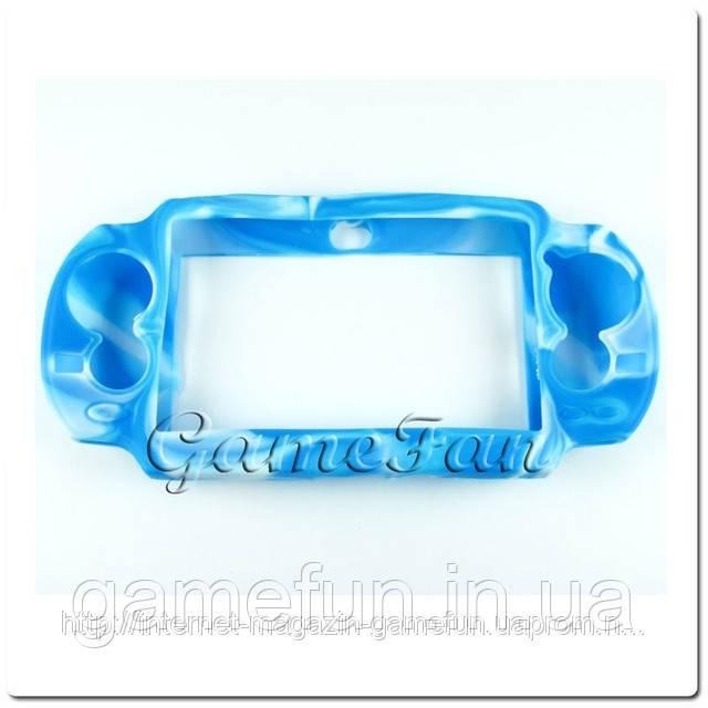 Силиконовый чехол для PS Vita (Камуфляж)(Blue-white) (PCH-1000)