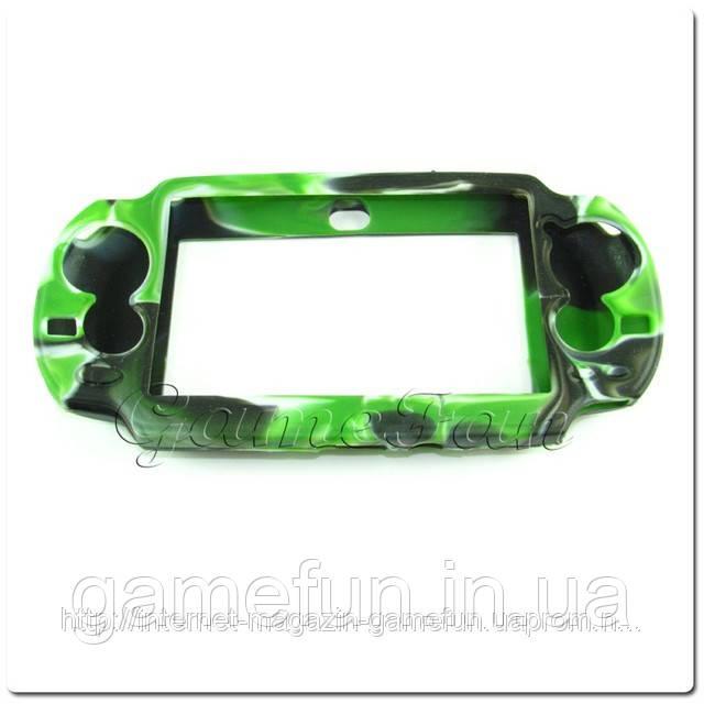 Силиконовый чехол для PS Vita (Камуфляж)(Green-black) PCH-1000)