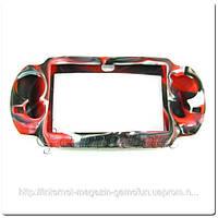 Силиконовый чехол для PS Vita (Камуфляж)(Red-black) PCH-1000)