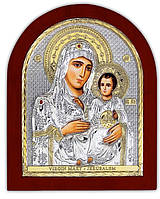 Иерусалимская Икона Божией Матери серебряная с позолотой Silver Axion (Греция)  85 х 100 мм