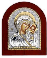 Silver Axion (Греция) Икона Серебряная Божией Матери Казанская с позолотой 85 х 100 мм