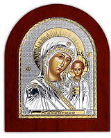 Икона Казанской Божией Матери Казанская Серебряная с позолотой Silver Axion (Греция)  110 х 130 мм