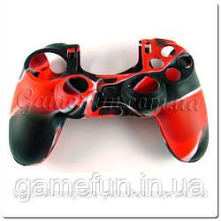 Силиконовый чехол для джойстика PS4 (Камуфляж)(Red-black)