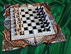 Шахматы-нарды  ручной работы в резьбе