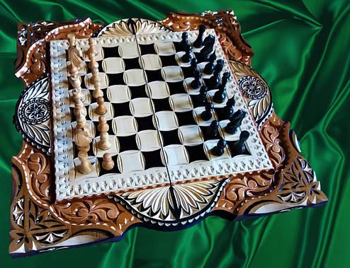 Шахматы-нарды  ручной работы в резьбе, фото 2