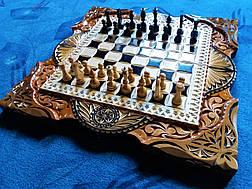 Шахматы-нарды  ручной работы в резьбе, фото 3