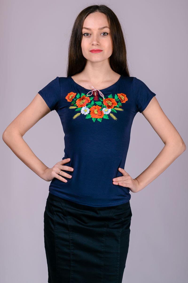 Футболка с вышивкой женская  синяя летняя с коротким рукавом трикотажная хб (Украина)