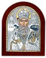 Святой Николай Икона  Silver Axion (Греция) Серебряная с позолотой 85 х 100 мм