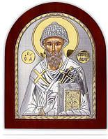Святой Спиридон Икона Silver Axion (Греция) Серебряная с позолотой 110 х 130 мм