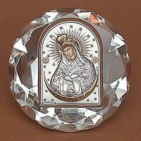 Божией Матери Остробрамская Икона Серебро 925°с позолотой Silver Axion (Греция) на стеклянной основе