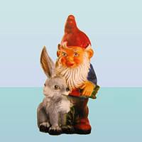 Фигура для ландшафтного дизайна скульптура для сада Гном с зайцем (М)