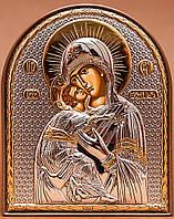 Silver Axion (Греция) Икона Божией Матери Владимирская 85 х 105 мм серебряная с позолотой