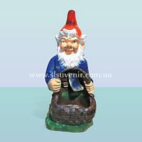 Ландшафтная садовая фигура, скульптура для сада Гном с корзиной б/ф