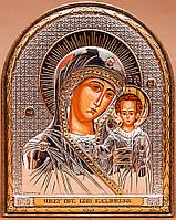 Икона Божией Матери Казанская серебряная Silver Axion (Греция) 40 х 56 мм