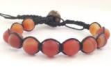 Браслет Агат помаранчевий. Бавовняний шнур. 1 оборот, фото 2