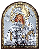 Silver Axion Почаевская Икона Божьей Матери серебряная (Греция) 58 х 75 мм