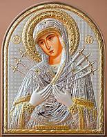Божья Матерь Семистрельная - икона 85 х 105 мм золото с серебром.