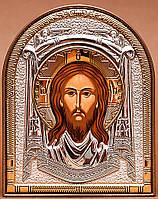 Икона Спас Нерукотворный серебряная с позолотой Silver Axion (Греческая) 40 х 56 мм