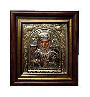 Святой Николай Чудотворец икона прямоугольная под стеклом серебряная 233 х 257 мм