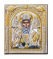Николай Чудотворец серебряная икона 155 мм х 180 мм