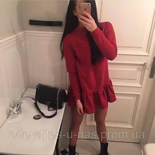 6b1d6a5554b93f9 Женское теплое короткое платье с воланом свободное ангора черное белое  красное марсала изумруд синее: продажа, цена в Одессе. платья женские от