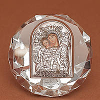 Икона Божией Матери Достойно Есть Серебро 925°с позолотой Silver Axion (Греция) на стеклянной основе