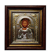 Спаситель икона православная прямоугольной формы под стеклом 233 х 257 мм.