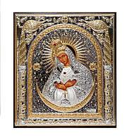 Остробрамская икона божией матери серебряная с позолотой 155 мм х 180 мм