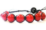 Браслет Коралл красный. Хлопковый шнур. 1 оборот