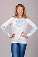 Женская блузка вышиванка туника свитшот белая с длинным рукавом трикотажная (Украина) 50