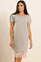 Трикотажное платье с кружевом серое