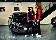 Женский спортивный костюм Ferrari с нашивками, кофта на молнии без капюшона, штаны зауженные с карманами., фото 2