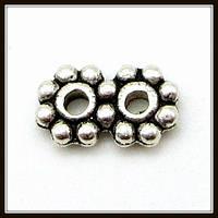 Разделитель на 2 нити, серебро (0,7*0,3*0,1 см) 60 шт. в уп.