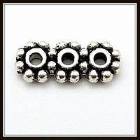 Разделитель на 3 нити, серебро (1*0,4*0,2 см) 40 шт. в уп.