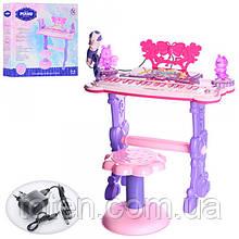 Синтезатор 6618 розовый на ножках, стульчик, микрофон, демо, свет, MP3, от сети и от батареек
