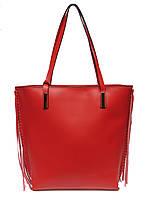 Женская  сумка из натуральной кожи фабричная (отшита  в Италии) красного цвета, на две ручки, с бахромой