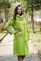Пальто из кашемировой ткани зеленого цвета
