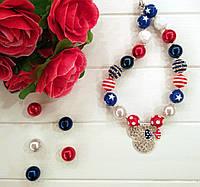 """Бусы для девочек """"Микки Маус"""" (ожерелье, кулон, колье, бижутерия)"""