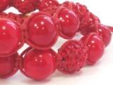 Браслет Корал червоний + намистини зі стразами. Бавовняний шнур. 2 обороту