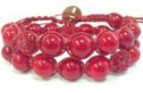 Браслет Корал червоний + намистини зі стразами. Бавовняний шнур. 2 обороту, фото 2