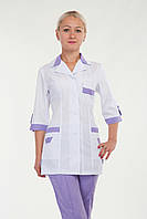 Женский медицинский костюм белый+сирень р.40-66