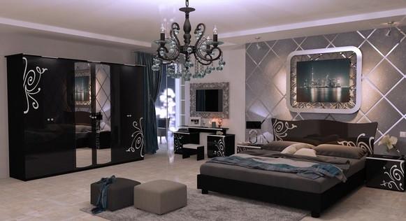 спальня Богема чорна глянцева