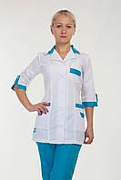 Женский медицинский костюм белый+синий р.40-66