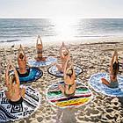 Круглое пляжное полотенце, для занятий йогой или для пикника., фото 2