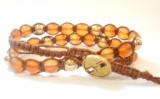 Браслет Сердолик + золото. Хлопковый шнур. 2 оборота