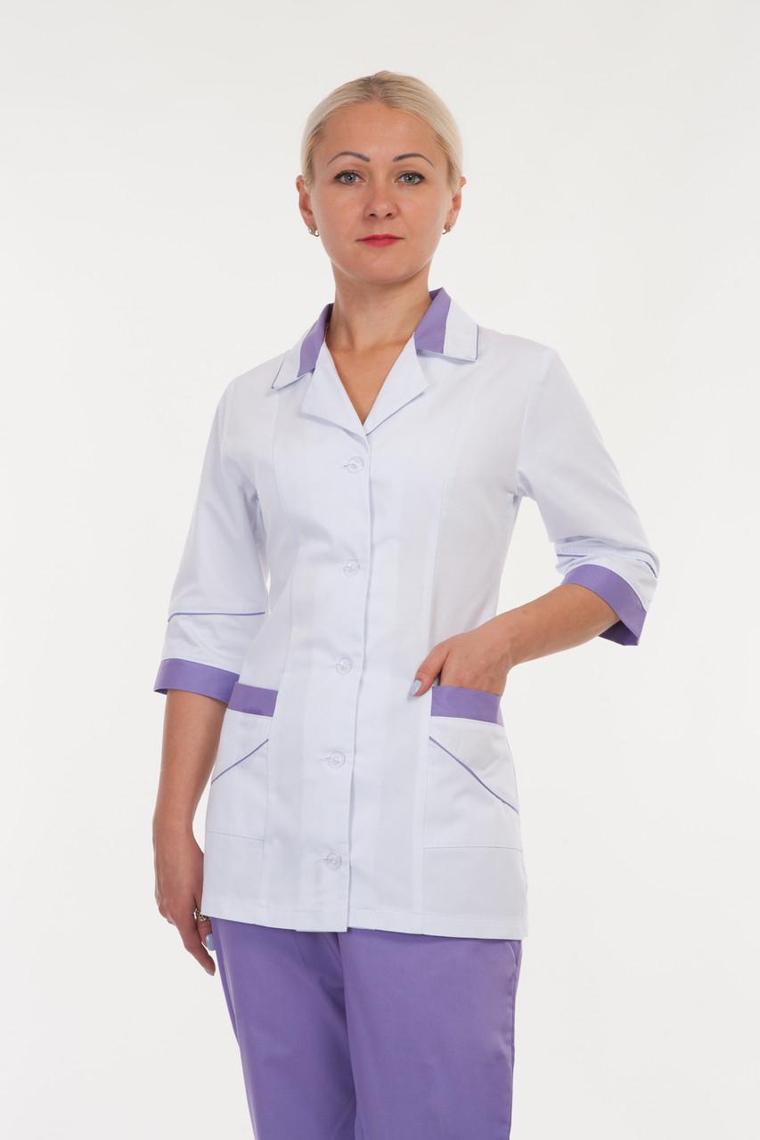 Женский медицинский костюм белый+сирень 42-64
