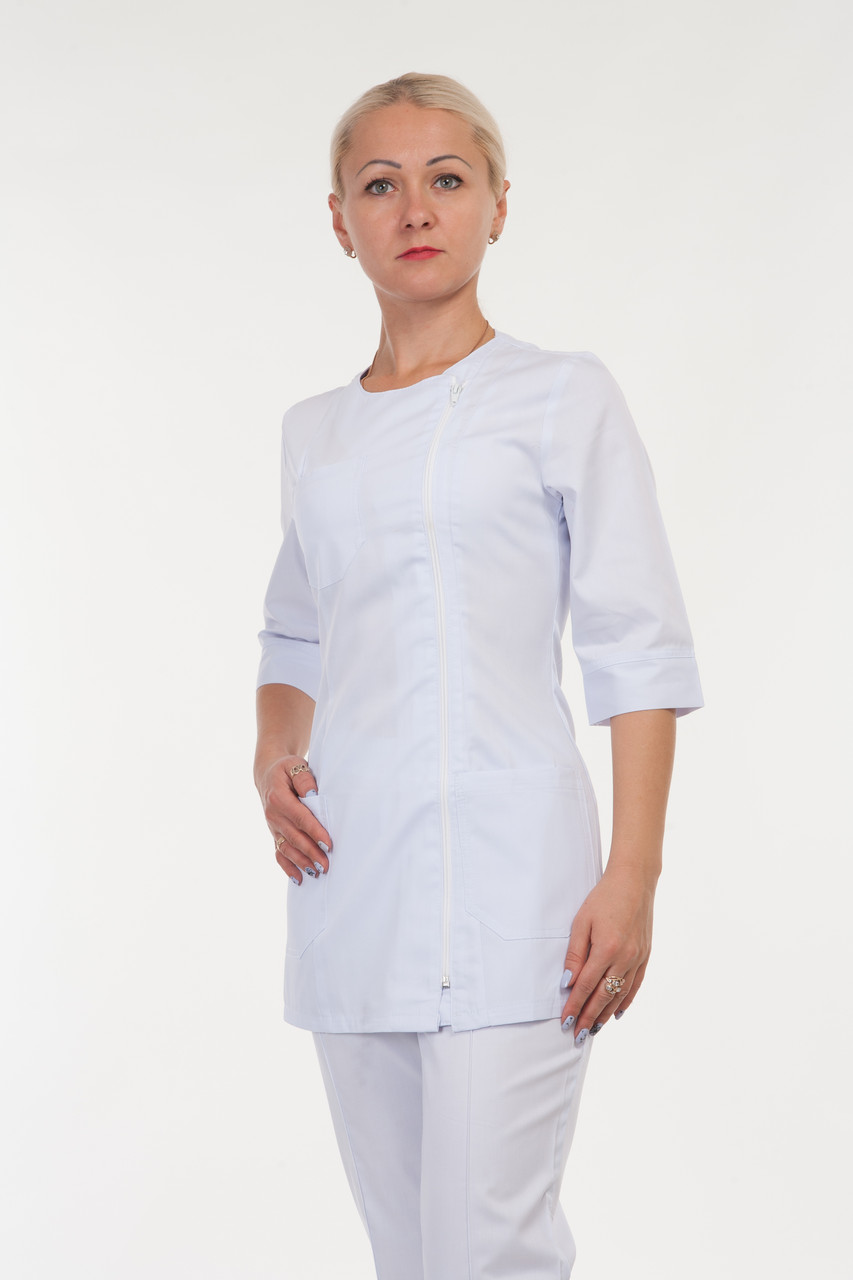Женский медицинский костюм на молнии белый 40-56