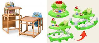 Манежи, ходунки, стулья для кормления
