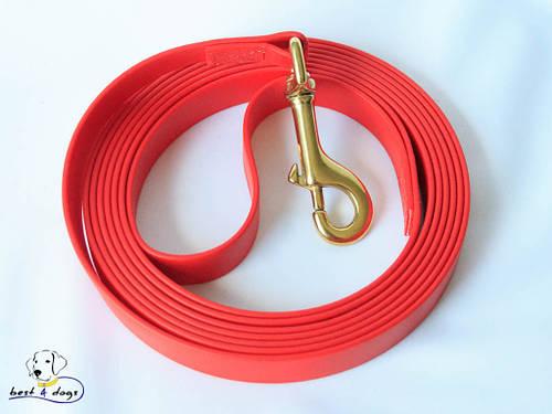 Поводок из биотана(Biothane) Красный 19мм